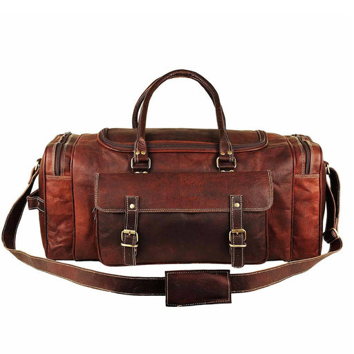 Genuine Leather Traveler Overnight Weekender Duffle Bag Classy Leather Bags