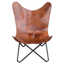 Load image into Gallery viewer, Handmade Leather Butterfly Chair in Natural Tan, 2 Piece Set - Classy Leather Bags