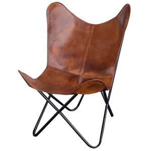Handmade Leather Butterfly Chair in Natural Tan, 2 Piece Set - Classy Leather Bags