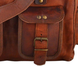 Brown Leather Handbag Crossbody Tote With Zipper - Classy Leather Bags