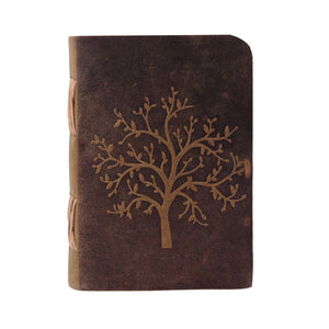 Tree of Life Embossed Journal Buffalo Leather Vintage Traveler Diary Notebook - Classy Leather Bags
