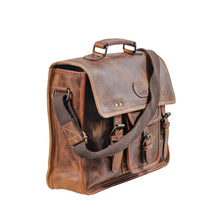Load image into Gallery viewer, Classic Leather Satchel Antique Brown Briefcase Bag
