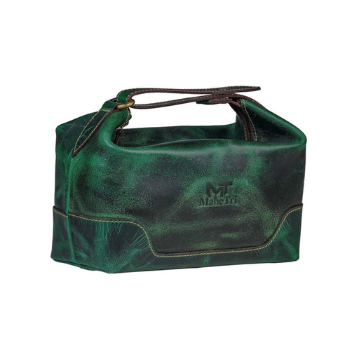 Green Leather Toiletry Bag Travel Kit Classy Leather Bags