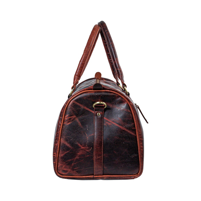 Buffalo Leather Weekender Duffle Bag Brown