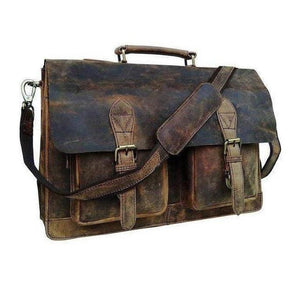 Retro Buffalo Hunter Leather Laptop Messenger Bag - Classy Leather Bags