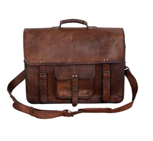Komalc Leather Briefcase Laptop Messenger Bag 18 Inch - Classy Leather Bags