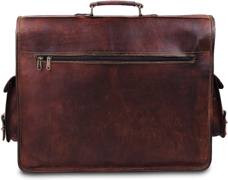 Retro Vintage Distressed Large Leather Messenger Bag - Classy Leather Bags