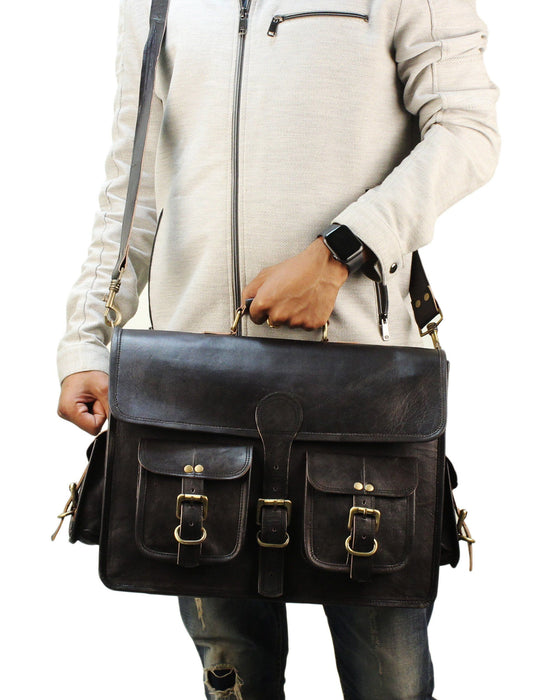 Vintage Black Leather Briefcase Laptop Messenger Bag - Classy Leather Bags