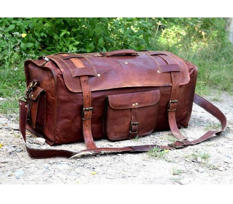Vintage Brown Flap Leather Duffle Bag