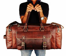 Load image into Gallery viewer, Vintage Genuine Leather Traveler Overnight Weekender Duffle Bag - Classy Leather Bags