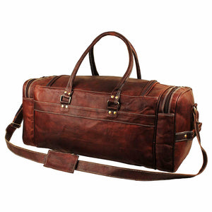 Vintage Genuine Leather Traveler Overnight Weekender Duffle Bag - Classy Leather Bags