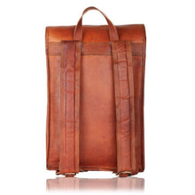 Load image into Gallery viewer, Handmade Vintage Tan Leather Laptop Backpack - 15 Inch - Classy Leather Bags