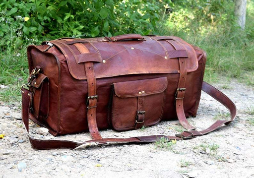 Vintage Brown Flap Leather Duffle Bag - Classy Leather Bags