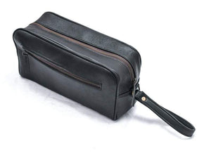 Black Leather Toiletry Bag Single Zipper