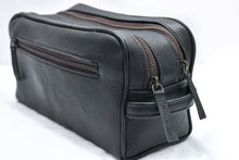 Load image into Gallery viewer, Black Leather Toiletry Bag Double Zipper