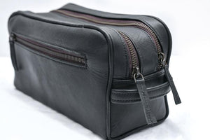 Black Leather Toiletry Bag Double Zipper