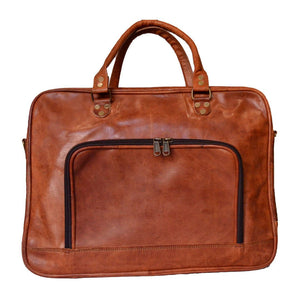 Handmade Genuine Vintage Leather Briefcase (Slim, Tan) - Classy Leather Bags