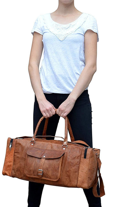 Genuine Leather Travel Weekender Bag