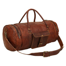 Load image into Gallery viewer, Round Leather Duffle Gym Sports Travel Bag Men Women - Classy Leather Bags