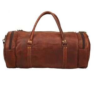 Round Leather Duffle Gym Sports Travel Bag Men Women - Classy Leather Bags