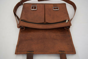 Vintage Brown Leather Lawyer Laptop Briefcase Messenger Bag - Classy Leather Bags