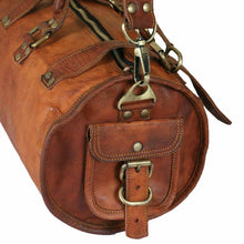 Load image into Gallery viewer, Genuine Leather Large Vintage Duffel Overnight Bag - Classy Leather Bags