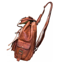 Load image into Gallery viewer, Distressed Brown Leather Backpack Rucksack Men - Classy Leather Bags