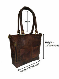 Women's Tote Rustic Handbag Genuine Leather Shoulder Purse - Classy Leather Bags