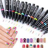 Kangler Nail Art Pens, 16 Colors Set Nail Art Pen for 3D Nail Art DIY Decoration (16 Color)
