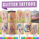 INGALA Pro Glitter Tattoo Kit. 24 Extra Fine Glitter Colors, PRO Tattoo Stencils and Glitter Tattoo Glue for The Perfect Glitter Tattoos Set