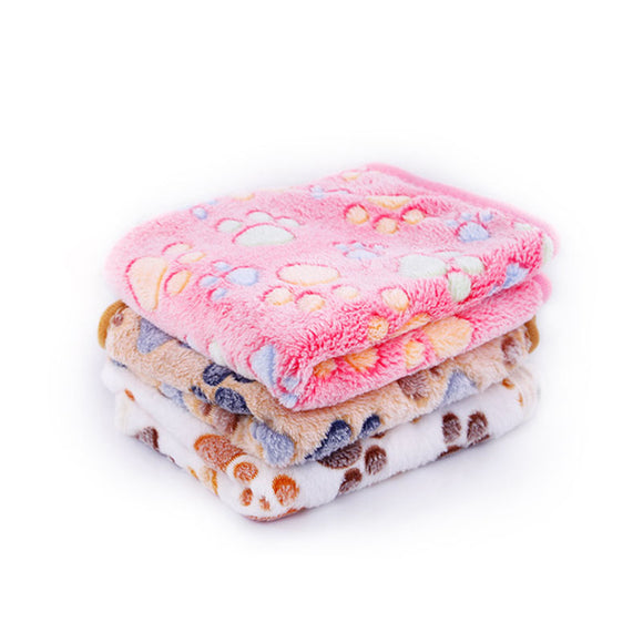 Floral Sleep Warm Paw Print Towl