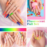 Beetles Neon Gel Nail Polish Set, Neon Orange Hot Pink Blue Yellow Green Purple 6 Colors Soak Off UV LED Gel Nail Kit, 7.3ml Each Bottle