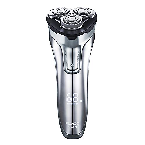 FLYCO Electric Razor Rotary Shaver for Men 3D Rechargeable Cordless Shavers Mens Close Cut Wet & Dry Razors for Shaving with Trimmer, IPX7 Waterproof, Time Display, Travel Case