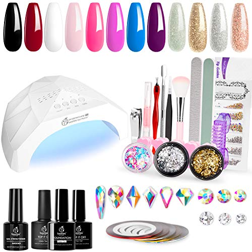 Fall Nails Manicure Kit Lamp Drill Machine Polish 12 Colors 48W UV/LED Light Nail Lamp