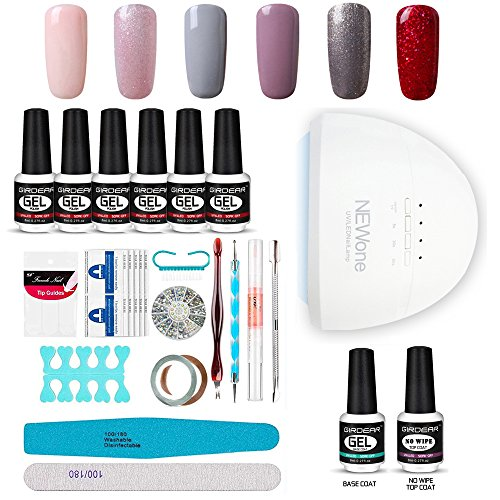 Fall Nails Manicure Kit Lamp Drill Machine Polish 48W LED Lamp Base Coat 6 Colors