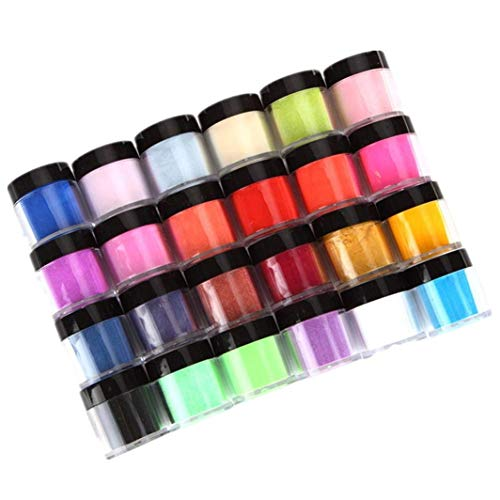 HitHopKing 24 Colors Acrylic Powder Set for Nail Art 3D DIY Tips decoration