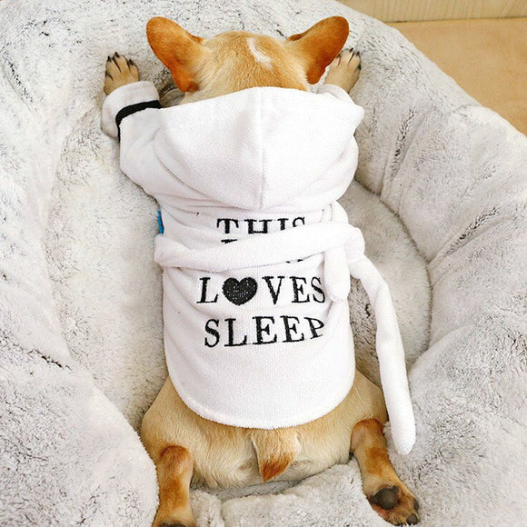 Dog Bathrob Pajamas Sleeping Soft Clothes