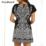 Casual Floral Printed Chiffon Mini Dresses