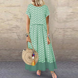 Vintage Polka Dot Sleeve Maxi Women Summer Dress