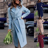 Autumn Women Long Trench Leather Coat