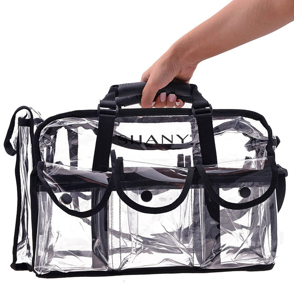SHANY Clear Makeup Bag, Pro Mua rectangular Bag with Shoulder Strap, Large (BLACK)