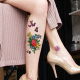 AresVns Colourful Tattoos Temporary Flower Floral Roses Feather Butterfly Sexy Cute, Non-toxic Waterproof Body Art Temporary Tattoo Stickers