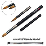 1PCS Eval Professional 100% Pure Kolinsky sable Acrylic Nail Art Brush oval For Manicure Powder Pedicure black Acrylic handle (Size 12)