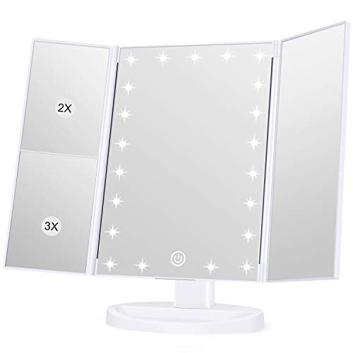 KOOLORBS Makeup 21 Led Vanity Mirror with Lights, 1x 2x 3x Magnification, Touch Screen Switch, 180 Degree Rotation, Dual Power Supply, Portable Trifold Makeup Mirror