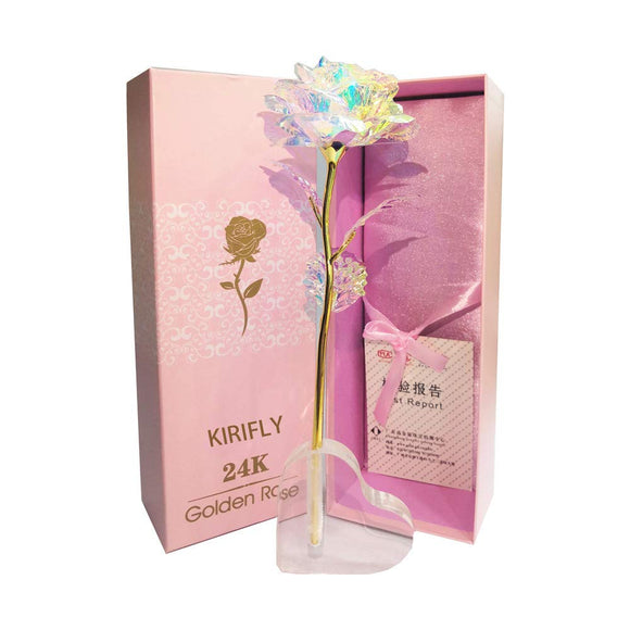 KIRIFLY Artificial Rose Gifts Fake Flowers Roses Presents for Women Plastic Cellophane Flower Birthday Anniversary Engagement Colorful Gifts (Colorful)