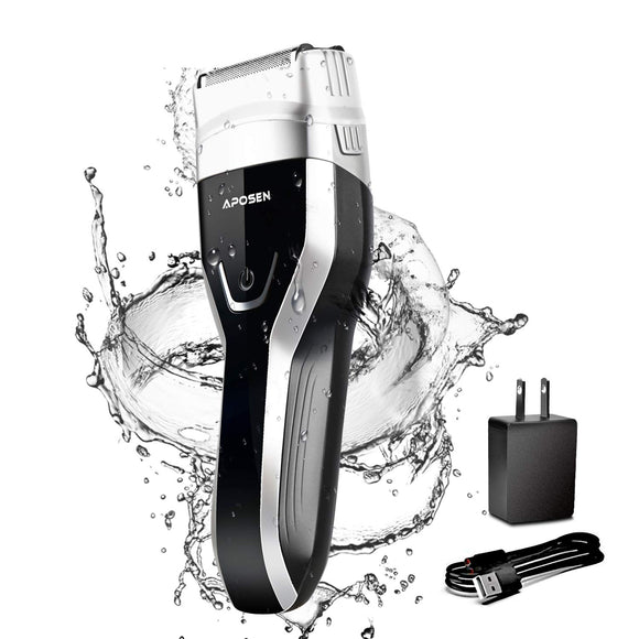 APOSEN Electric Foil Shaver for Men, LED Display USB Rechargeable G5 Electric Razor, Wet & Dry IPX7 100% Waterproof Cordless Foil Razor (Black)