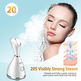 Facial Steamer - Nano Ionic Face Steamer for Home Facial Warm Mist Humidifier Steamer for Face BPA Free for Sauna Spa Sinuses Moisturizing Cleansing Pores,Bonus Stainless Steel Skin Kit and Hair Band