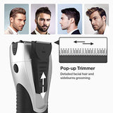 Electric Razor for Men - YASUN Men's Foil Shaver Wet/Dry Rechargeable Electric Shaver for Men with Pop-up Beard Trimmer IPX7 Waterproof Cordless Mens Razor - YS5800 Silver & Black
