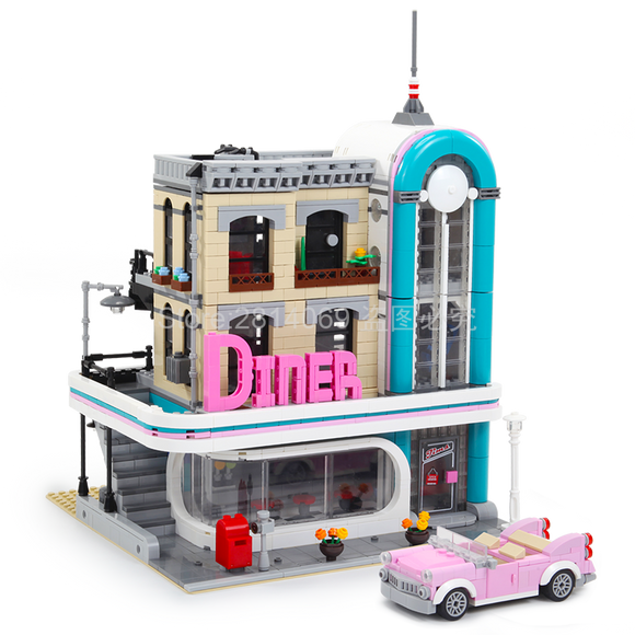 Brick Building Toys Downtown Diner City Street Set
