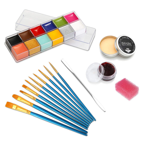 CCbeauty 12 Color Face Paint (5.64Oz),Halloween Stage Special Effects Kit Wound Scar Wax (1.16Oz) + Fake Scab Blood (0.63Oz) + Spatula + 10 Brushes + 1 Stipple Sponge